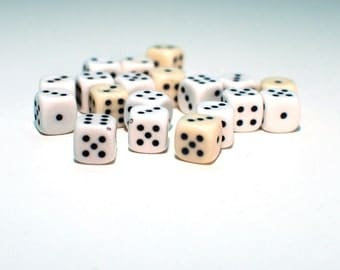 Black and White dice , Vintage Game Dice , set of 19 pcs dices , craft supply ,  collection dice