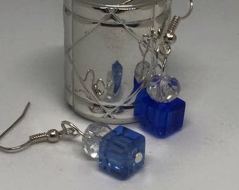 Blue cube and sparkle bead earrings