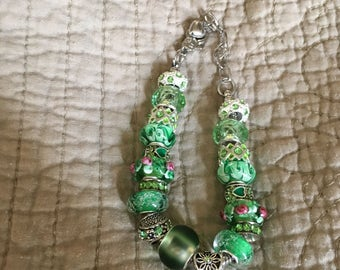 Green goddess european style bracelet