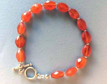 Carnelian semi precious gemstone  bracelet
