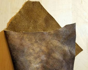 "Golden Brown Leather Rustic Brown Leather Craft Peice, 6""×12"" or 12""×12"" panels, Rustic Hides Antiqued Hide Remnants Scraps"