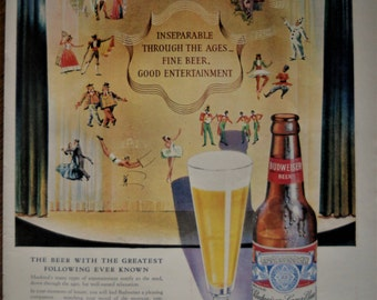 Budweiser Beer ad.  1947 Budweiser Beer ad. Vintage Budweiser Beer ad.  Full color, illustrated.