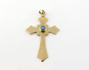 Vintage 14K Yellow Gold and Robin Egg Turquoise Cross Pendant #593