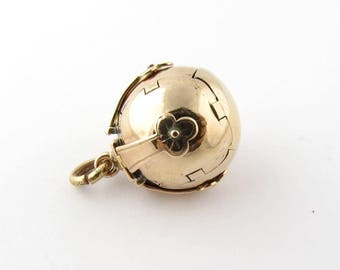 Vintage 9K Rose Gold and Sterling Silver Masonic Ball Pendant #915