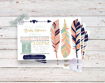 Baby Shower or Birthday Invitation Gold&Navy- Feather Design,Digital File,Printable Invitations,Birthday Invite,Boys Birthday,Feather Invite
