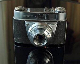 Vintage KODAK RETINETTE 1A film camera with case and lens hood
