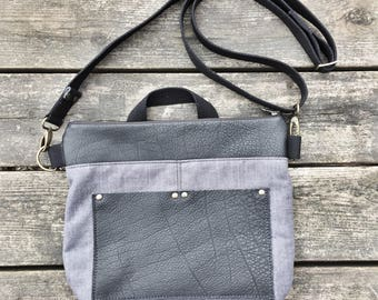 Maudi Shoulder Bag, Shoulder Bag, Reclaimed Leather, Heavy Duty Linen, 100% Linen, Unisex