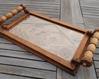 old carved wooden shabby chic serving tray