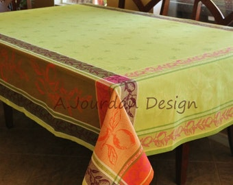 French Extra Large Tablecloth Lemon Green Jacquard Woven Teflon Coated -100% cotton tablecloths -Matching Jacquard cotton napkins available!
