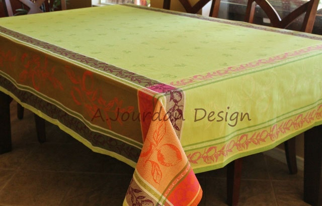 French Extra Large Tablecloth Lemon Green Jacquard Woven