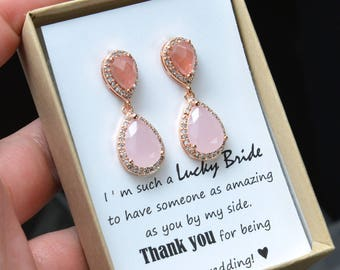 Blush pink  coral watermelon pink peach GOLD Wedding Jewelry Bridesmaid Gift Bridesmaid Jewelry Bridal Jewelry earring Drop dangle Earring
