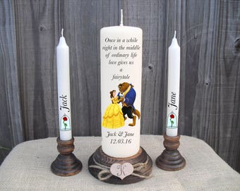 Personalised Beauty & The Beast Disney Unity Candle Set Wedding Engagement Centrepiece Gift Keepsake Anniversary