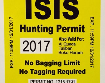 ISIS HUNTING PERMIT decal vinyl sticker