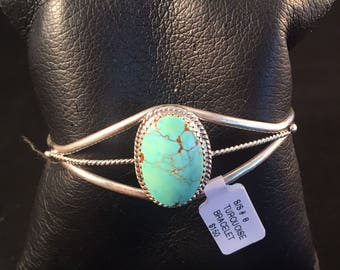 Native American Navajo Turquoise and Sterling Silver Cuff Bracelet