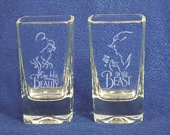 Set of 2 Beauty and the Beast Wedding shot Glasses