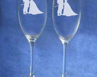 Firefighter Wedding Toasting Glasses Personalized