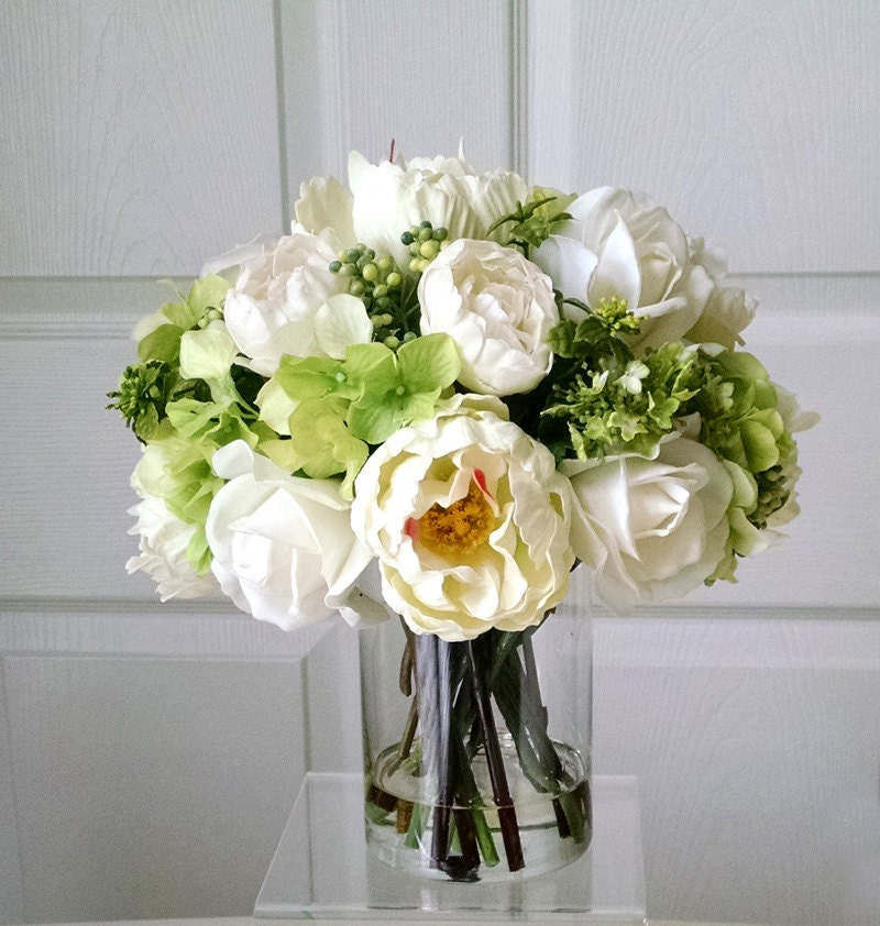 SALE-All Real Touch Flowers Arrangement-Floral Arrangement-Silk Flowers in Home Decor-Fake flowers-Real Touch Peonies-Real touch Roses