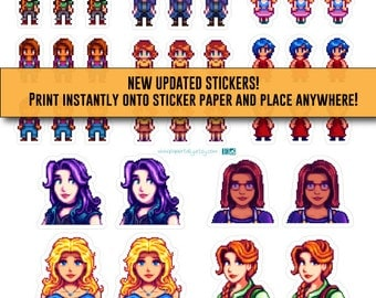 Stardew Valley, stickers, Bachelorettes, video game stickers, Character Stickers