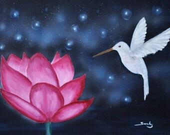 Lotus and hummingbird - Original acrylic painting 30x40 cm