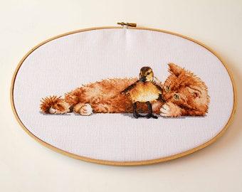 Cat and Duck Cross Stitch, Hoop Art