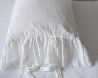 Frayed ruffle pillow chams. linen pillowcases. linen shams-Dusty Raspberry -White-Natural Gray-Charcoal-Ruffled pillowcase/Linen body pillow