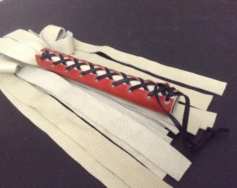 Leather Flogger Cream Thuddy with Red Corset BSC015