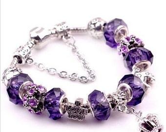 Pandora bracelet pandora charm  European charm bracelet  ''PANDORA CHARMS'' silver plated with the purple beads crown theme Love Charm