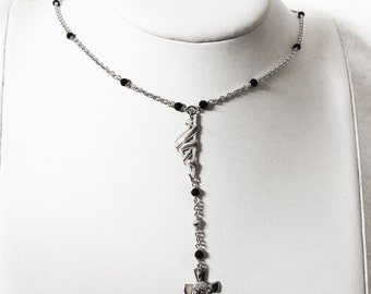 Corsica Ribbon & Onyx Rosary necklace