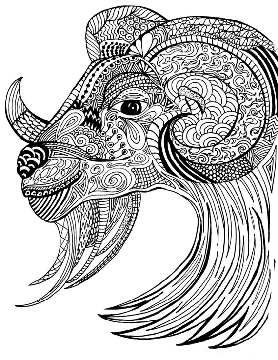 Adult Coloring Page Ram Detailed Artwork Color