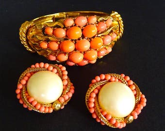 Vintage Cuff Bracelet and Earrings Coral Costume Jewelry CARVEN PARIS Coral Pink Beads Gilt Metal French Haute Couture Gift Idea for Her