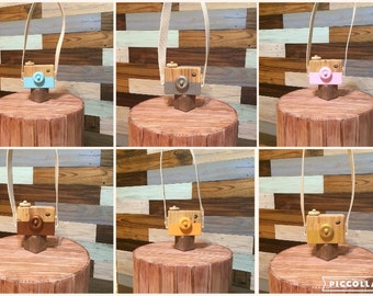 White Hand Made Children's Wooden toy camera.  Wood Creative Play Educational Imagination Outdoor Nursery decor