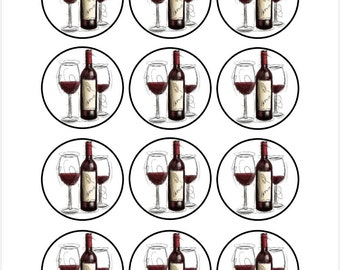 Edible Wine Themed Cupcake Cookie Toppers