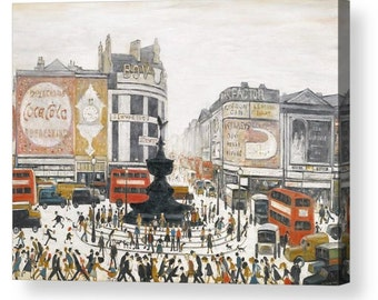 """LS Lowry """"Piccadilly Circus"""" Canvas Box Art A4, A3, A2, A1 ++"""