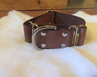"Personalized 1.5"" Wide Brown Leather Martingale Dog Collar With Name"