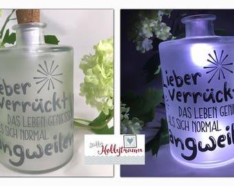 """Bottle lamp, light bottle, Bottlelight, USB Cork, 'rather crazy life..."""""""