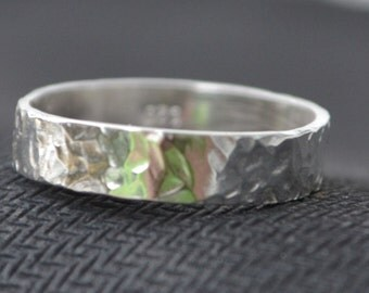 3mm Sterling Silver Hammered Men's Ring