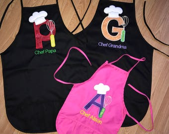 2 Adult and 1 Child Apron Set. Will be customized to your liking.