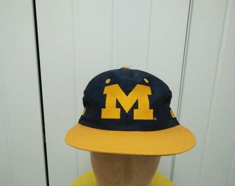 Rare Vintage MICHIGAN WOLVERINES Big Logo Embroidered Cap Hat Free size fit all