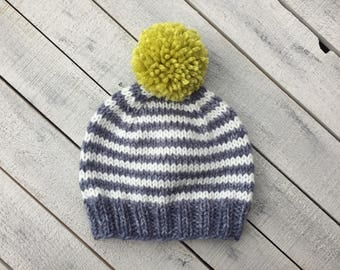 Pom Pom Hat, Boy Striped Infant Hat, Boy Winter Beanie, Unique Baby Gift, Fall Baby Boy Clothes, Newborn Photo Hat, Boy Going Home Outfit