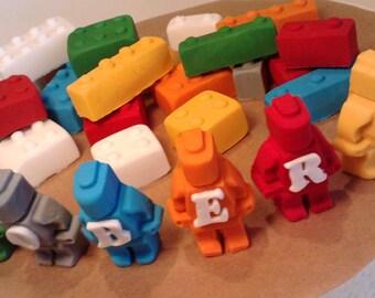 Personalised lego figures with 20 Lego bricks cake topper sugar paste decoration,shipping from UK