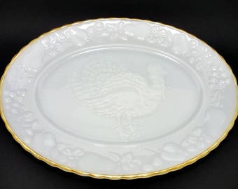 Anchor Hocking Milk Glass Turkey Platter, Milk Glass, Turkey Platter, Milk Glass Platter, Large Oval Platter, Thanksgiving Serving Platter