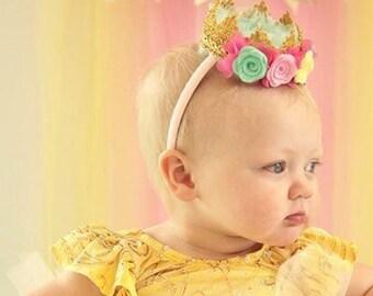 First birthday crown, birthday headband, gold crown headband, flower crown, baby crown, princess crown, crochet crown, floral crown