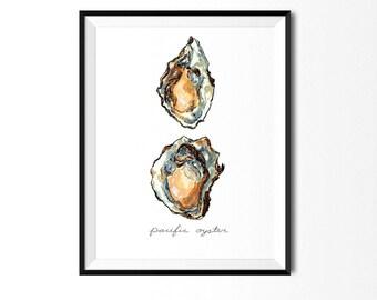 Oysters Print, Food Art, Food Illustration, Oyster Art, Kitchen Art, Kitchen Decor, Kitchen Print, Food Print, Seafood Print, Sea Painting
