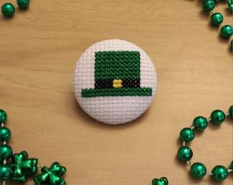 St. Patrick's Day Hat Cross Stitch Button (Pin Back)
