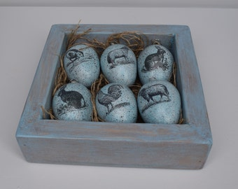 Easter Eggs In Wooden Box Set of 6 Blue Speckled Eggs Easter Tree Ornament Hanging Vintage Illustrations Eggs Rustic Easter Easter Gift