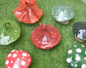 Handcrafted Stoneware Ceramic Fantasy Fairy Garden Toadstools
