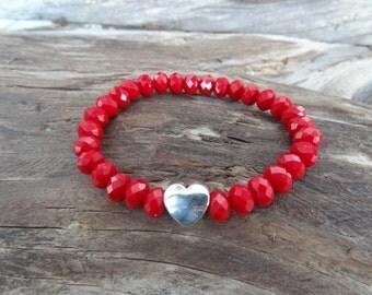 EXPRESS SHIPPING,Crystal Beads Bracelet, Red Crystal Beads Bracelet, Crystal Jewelry,Women's Jewelry,Elegance,Feminine Bracelet,Mother's Day