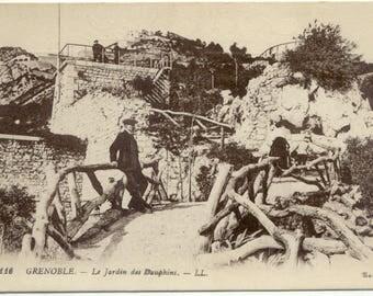 Man in Le Jardin des Dauphins GRENOBLE France Vintage POSTCARD Carte Postale