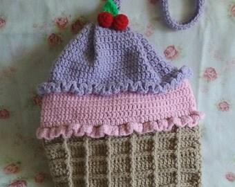 Strawberry N' Purple Yam Ice Cream Bag / Shoulder Bag / Crochet backpack / crocheted bag / Handbag / Travel Bag