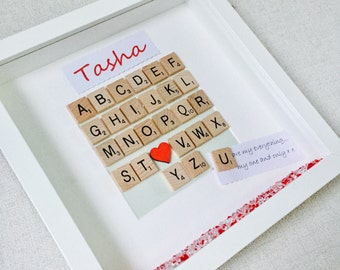 Scrabble Gift, Love Frame, Personalised Girlfriend Husband Frame, Birthday Gift, Wife Gift, Scrabble Alphabet Frame, Scrabble Alphabet Gift